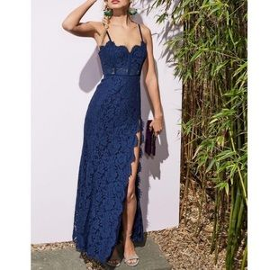 Fame & Partners   Kirsten Bustier Lace Gown Blue